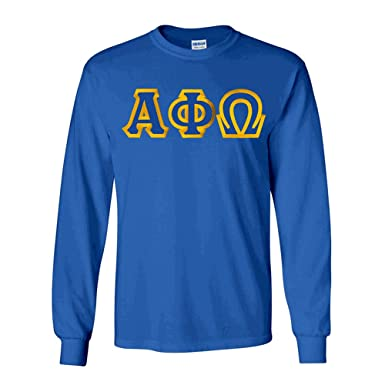 c6b2597cda1 Greekgear Alpha Phi Omega Custom Twill Long Sleeve T-Shirt Small Royal Blue