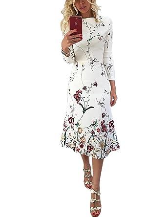 59b3c46f687e83 MISOMEE Damen Blumendruck Langarm Elegant Kleid: Amazon.de: Bekleidung