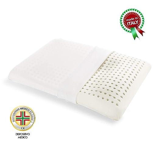Goldflex – Cojín de látex Natural en Forma de cubeta, Soporte bajo y Acogedor. Hipoalergénico Transpirable Revestido de algodón 100% Certificado ...