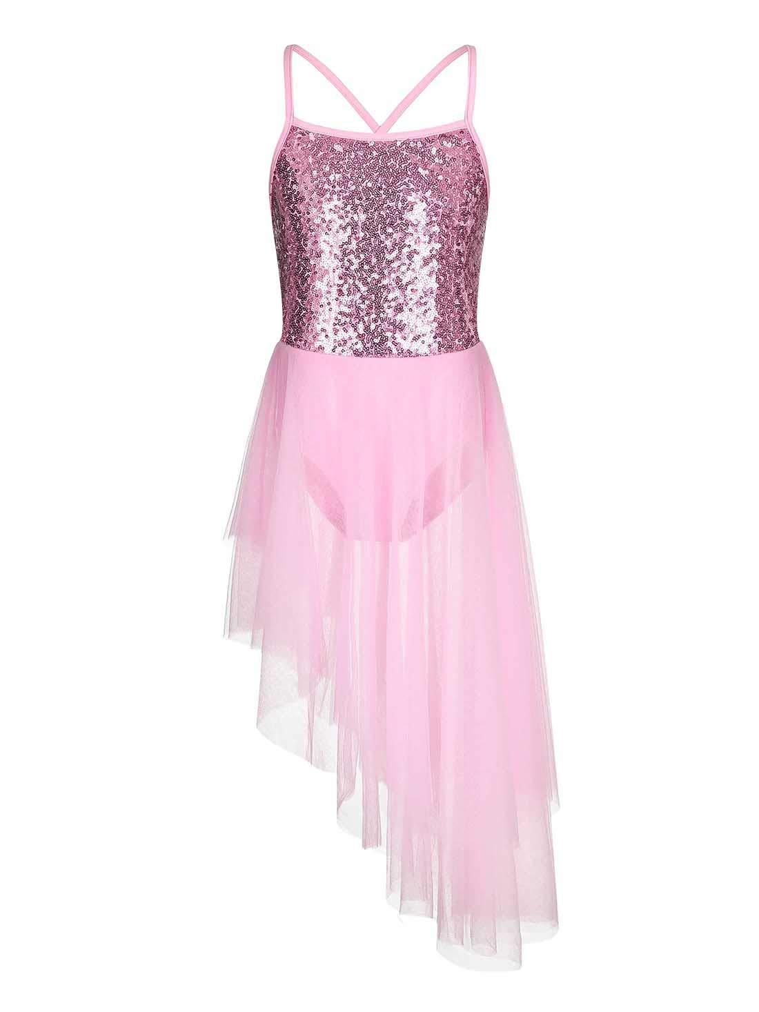 FONLAM Dance Leotard Ballerina Dress Sequined Camisole Ballet Tutu Dress for Girl Kid