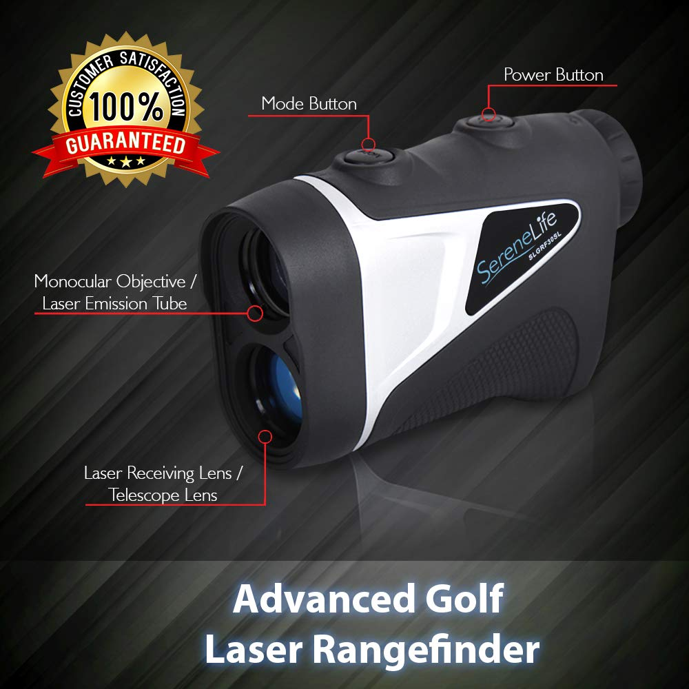 SereneLife Upgraded Advanced Golf Laser Rangefinder with Pinsensor Technology – Waterproof Digital Golf Range Finder Accurate up to 540 Yards – Upgraded Optical View