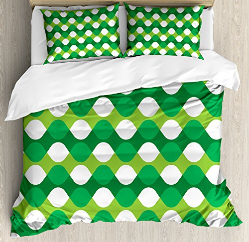 Zig Zag Tree Decoration - Lunarable Jade Green Duvet Cover Set Queen Size, Abstract Oval Shapes with Zigzag Chirstmas Tree Color Palette, Decorative 3 Piece Bedding Set with 2 Pillow Shams, Emerald Yellow Green White