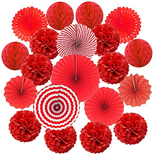 Red Tissue Balls - Cocodeko Hanging Paper Fan Set, Tissue Paper Pom Poms Flower Fan and Honeycomb Balls for Birthday Baby Shower Wedding Festival Decorations - Red