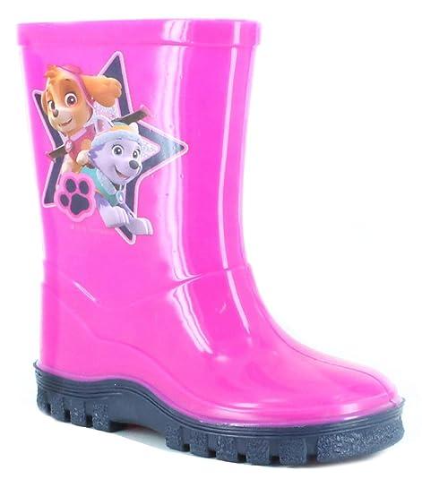 Botas de agua para niños y niñas con licencia oficial de la Patrulla Canina, color Rosa, talla 38 EU Niño: Amazon.es: Zapatos y complementos