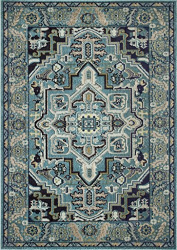 Masada Rugs Multi color Vintage Collection Soft Oriental Area Rug Carpet (5 Feet X 7 Feet, Turquoise)