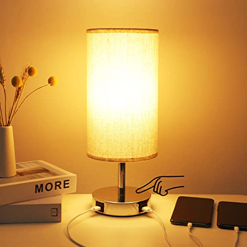 3 Way Dimmable Touch Control Table Lamp, 2 Fast Charging USB Ports Hong-in Bedside Touch Lamp, Safe DC 5V Nightstand Lamp, Desk Lamps for Bedroom, Living Room, LED Bulb Power Adapter Included