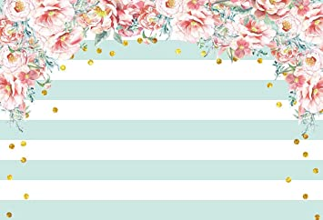Mint 10x12 FT Photo Backdrops,Old Fashioned Floral Pattern Circular Polka Dots Vintage Feminine Fashion Background for Baby Shower Birthday Wedding Bridal Shower Party Decoration Photo Studio