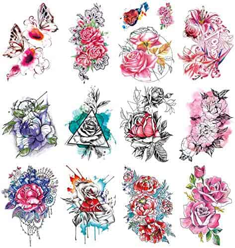 571be5c07 Oottati 12 Sheets Large Flowers Fake Temporary Tattoos Stickers Kit -  21x15cm Watercolor Painting Butterfly Red