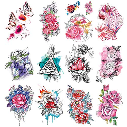 Oottati 12 Sheets Large Flowers Fake Temporary Tattoos Stickers Kit - 21x15cm Watercolor Painting Butterfly Red Blue Purple Rose Bouquet For Women Arm Thigh Leg Back ()