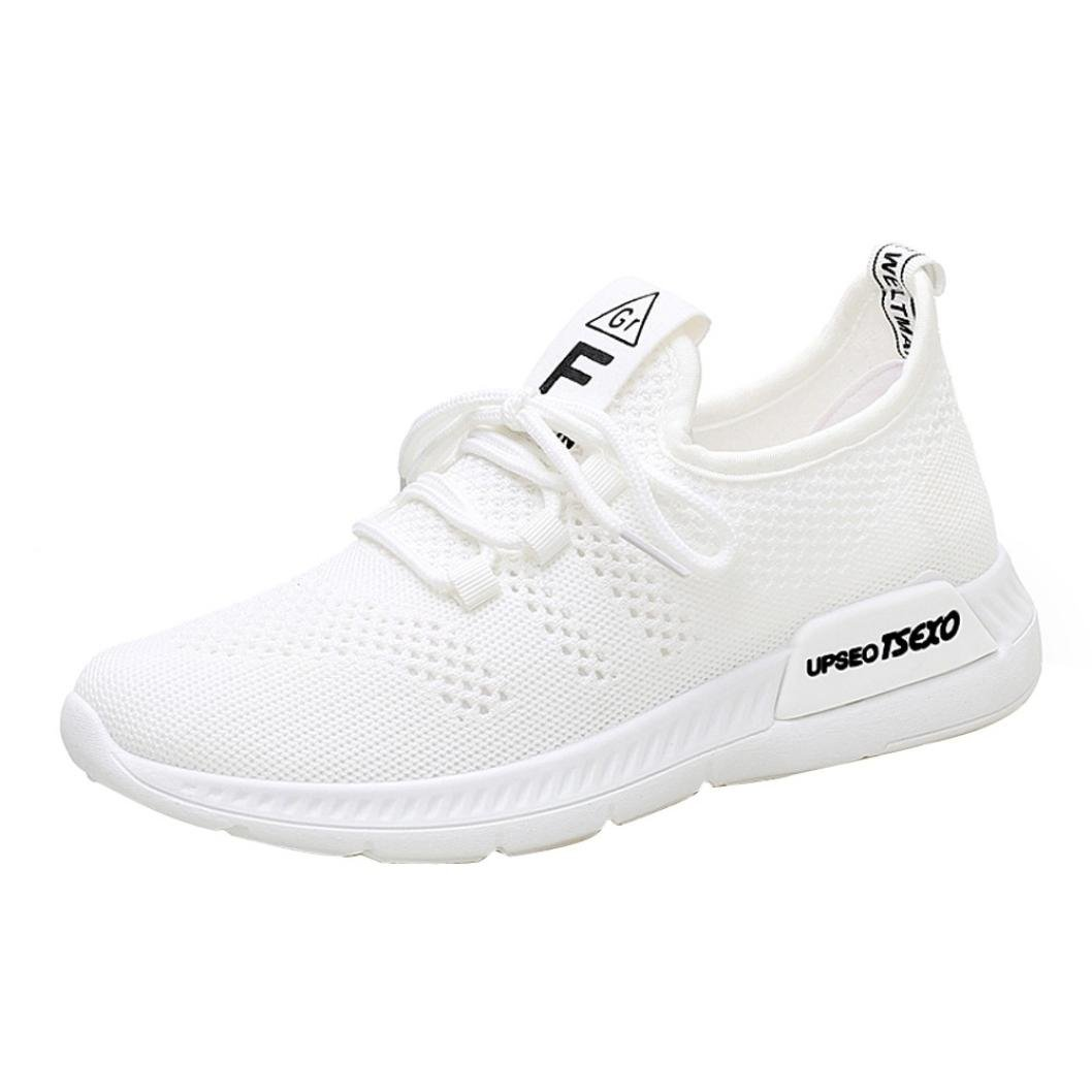Clearance Women Girls Running Shoes-Casual Mesh Slip-on Sneakers Athletic Walking Shoes 5.5-9 (White, US:8.5)