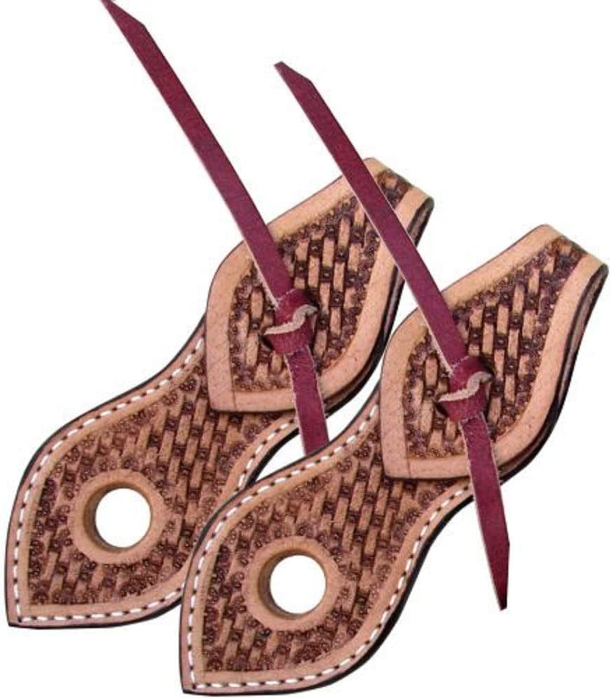 Showman Basketweave Tooled Leather Slobber Straps