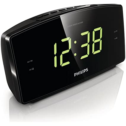 Philips Reloj despertador AJ3400 con diplay Digital Color Negro con radio AM/FM
