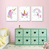 "Unicorn Wall Posters Rainbow Unicorn Canvas Wall Art Prints Painting Decoration Pictures Set of 3 (8""x11.8"" for Girls Kids Bedroom Nursery Wall Decor Gift,No Frame"