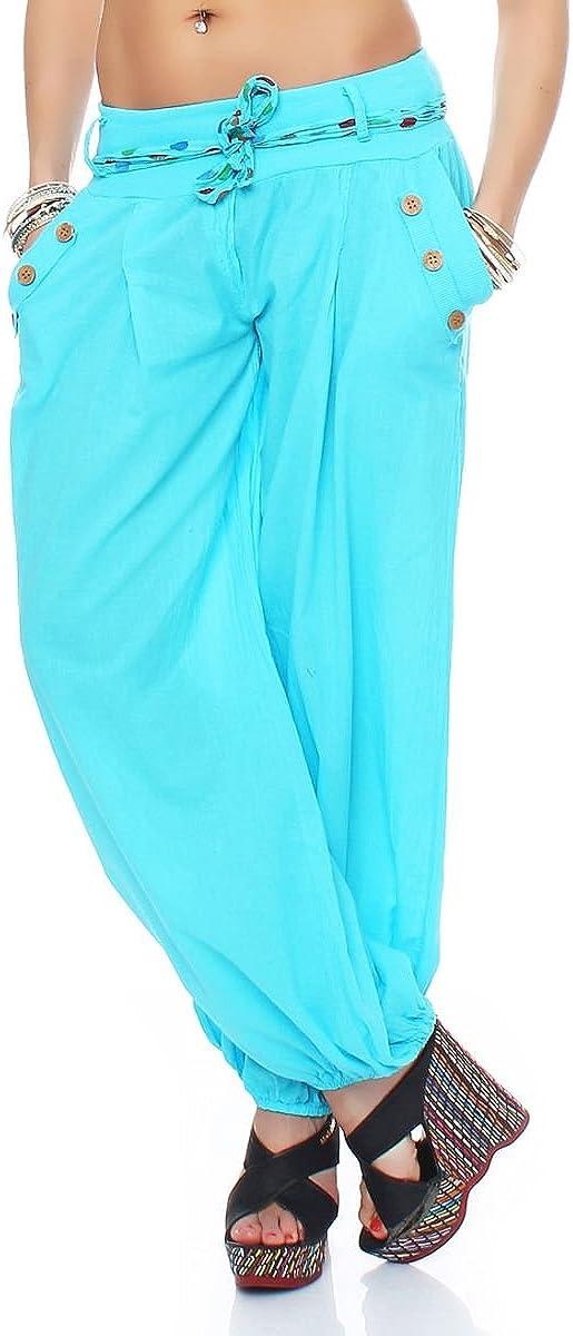 Malito Pantaloni alla Zuava Classico Design Boyfriend Aladin Harem Pantaloni Sbuffo Pantaloni Pump Baggy Yoga 3417 Donna Taglia Unica