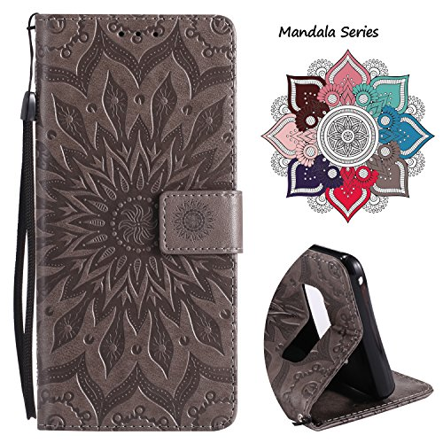 Wallet Leather Flip Case for Samsung Galaxy Note 8, Embossed Art Mandala Pattern with Kickstand Card Slots, Embedded Durable Magnetic Full Body Protective Case Cover for Galaxy Note 8 (2017) - Grey - Icon Womens Wallet