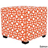 MJL Furniture Designs Merton Collection, Fabric Upholstered Modern Cube Foot Rest Ottoman with 4 Button Tufting, Gigi Series, Salmon