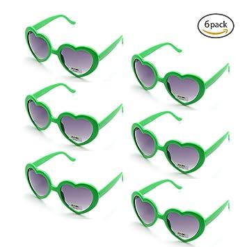 ONNEA 6 Pares Gafas de Sol Fiesta Forma de Corazón Neon Colores Paquete (Verdes 6-Pack)