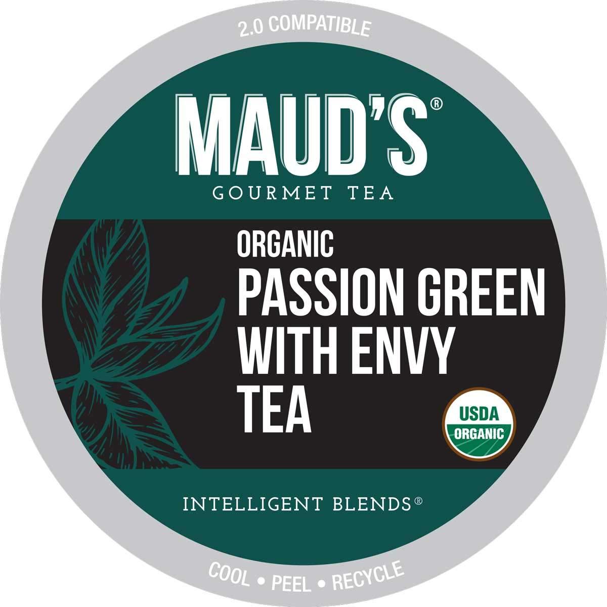 Maud's Organic Green Tea Passion (Passion Green Envy Tea), 24ct. Recyclable Single Serve Organic Green Tea Pods – 100% Organic Passion Green Tea California Blended, Keurig Green Tea K Cup Compatible