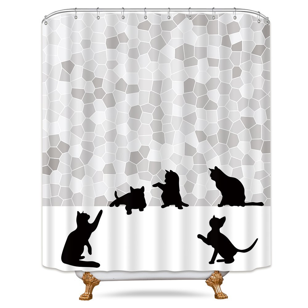 Riyidecor Cat Silhouette Shower Curtain Kitten Cartoon Animals Grey Mosaic Black and White Decor Fabric Set Polyester Waterproof 72x72 Inch for Bathroom Free Plastic Hooks 12-Pack