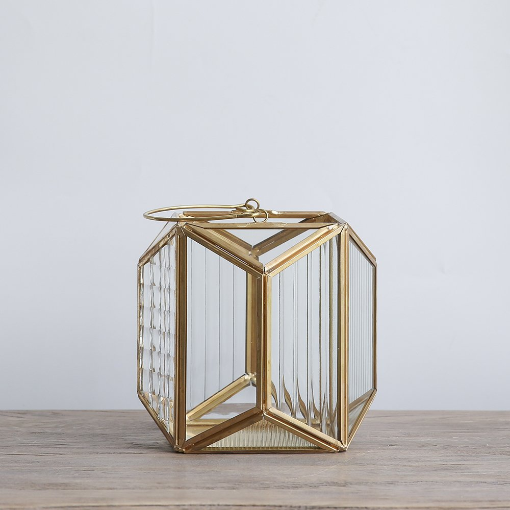 Cyl Home Candle Lanterns Textured Clear Crystal Glass Bronze Brass Frame Hanging Hurricane Tea Light Holder Lamp Polyhedral Centerpiece Decor Accent Gift Wedding, Tea Party, 5.9'' H x 5.9'' D