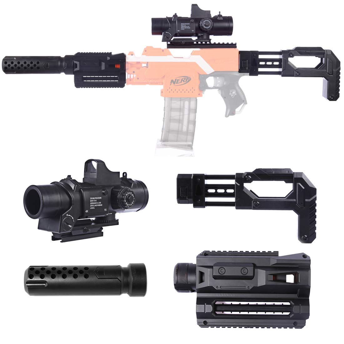 ANNA SHOP Upgrade Mods Kit for Nerf with 6X Targeting Scope,Magazin Clip Holder,Deco Silencer ,Tube Adapter