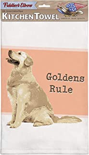 product image for Fiddler's Elbow Goldens Rule Golden Retriever Kitchen Towel, 100% Cotton Dog Themed Towel, Eco-Friendly Dish Towel with Hanging Loop, Golden Retriever Lover Gift