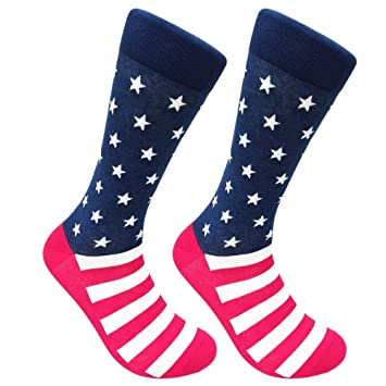 Mens American Flag Socks Patriotic USA Stars Stripes Crew Fashion Novelty New!