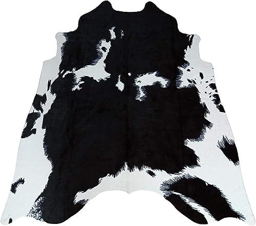 Faux Black and White Cowhide Rug,4.6 x 5.2 Feet Cow Skin Hide Area Rug