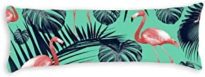 Tropical Flamingo Pattern Body Pillow Covers Pillowcase 20''x54 with Hidden Zipper Closure, Long Body Pillow Case Protector for Home Bedding Decorative