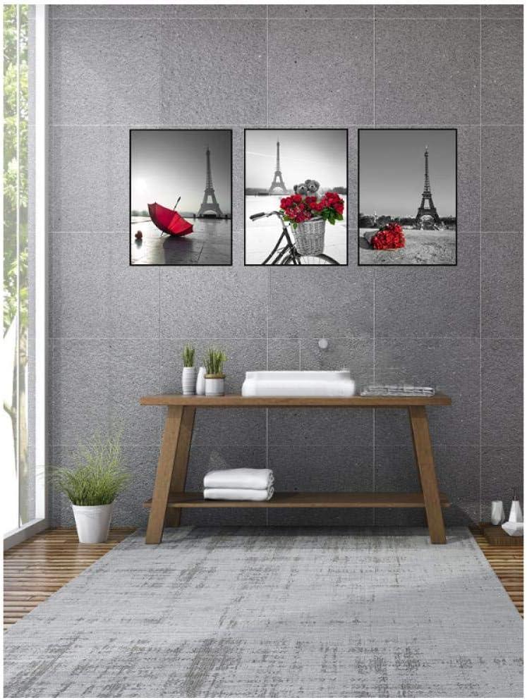 Rjunjie Cuadros de Arte de Pared Torre Eiffel Paraguas Rojo en la Calle de París Cartel de Paisaje Urbano Moderno Pintura de Lienzo Decoración de Sala de Estar gift21x30cmx3 Sin Marco: Amazon.es: