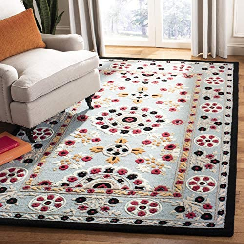 Safavieh Bellagio Collection BLG628B Handmade Light Blue and Black Premium Wool Area Rug 8' x 10'