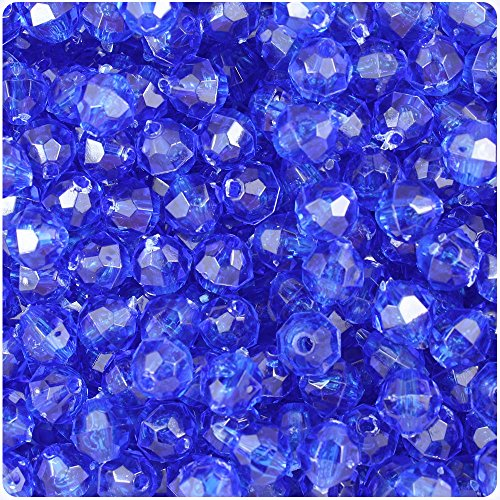 Faceted Beads 8mm Round Acrylic (BEADTIN Dark Blue Transparent 8mm Faceted Round Craft Beads (450pc))