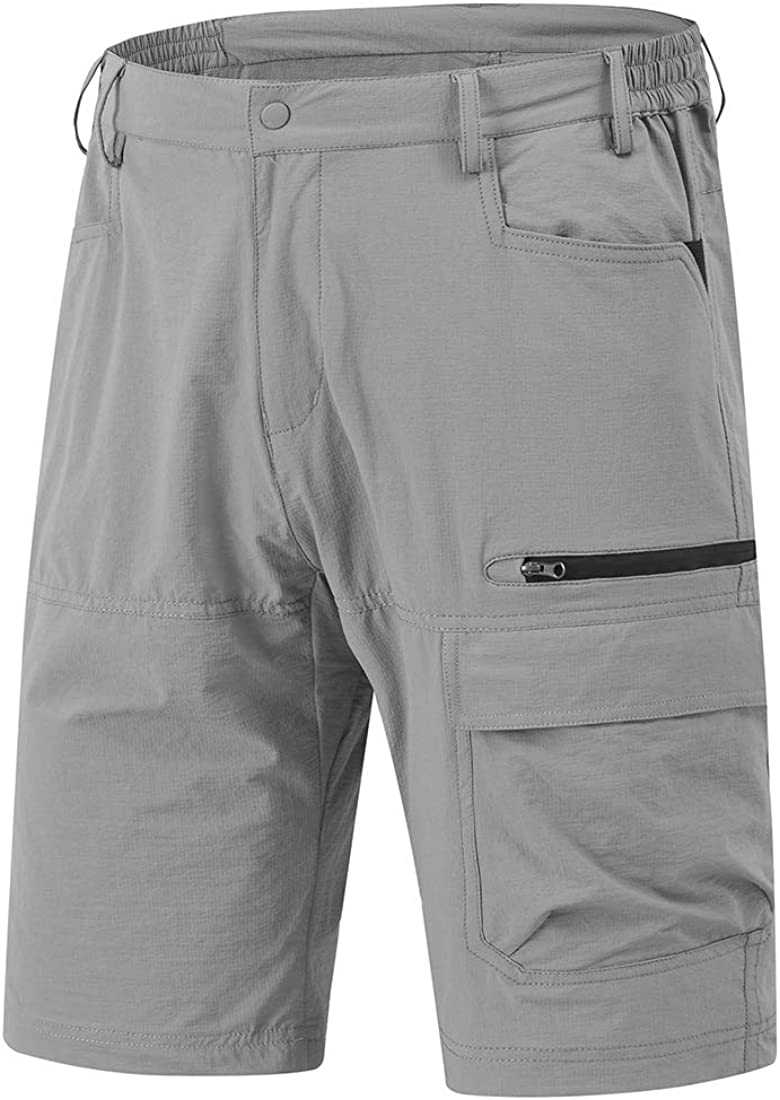 YSENTO Men's Quick Dry Cargo Shorts Stretch Tactical Sports Hiking Shorts with Zipper Pockets