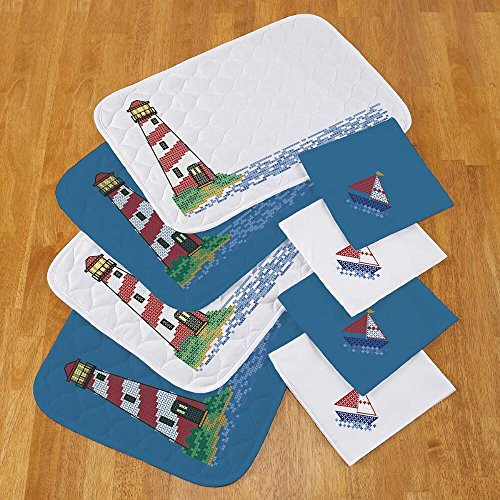 (Herrschners® Lighthouse Place Mats & Napkins Stamped Cross-Stitch)