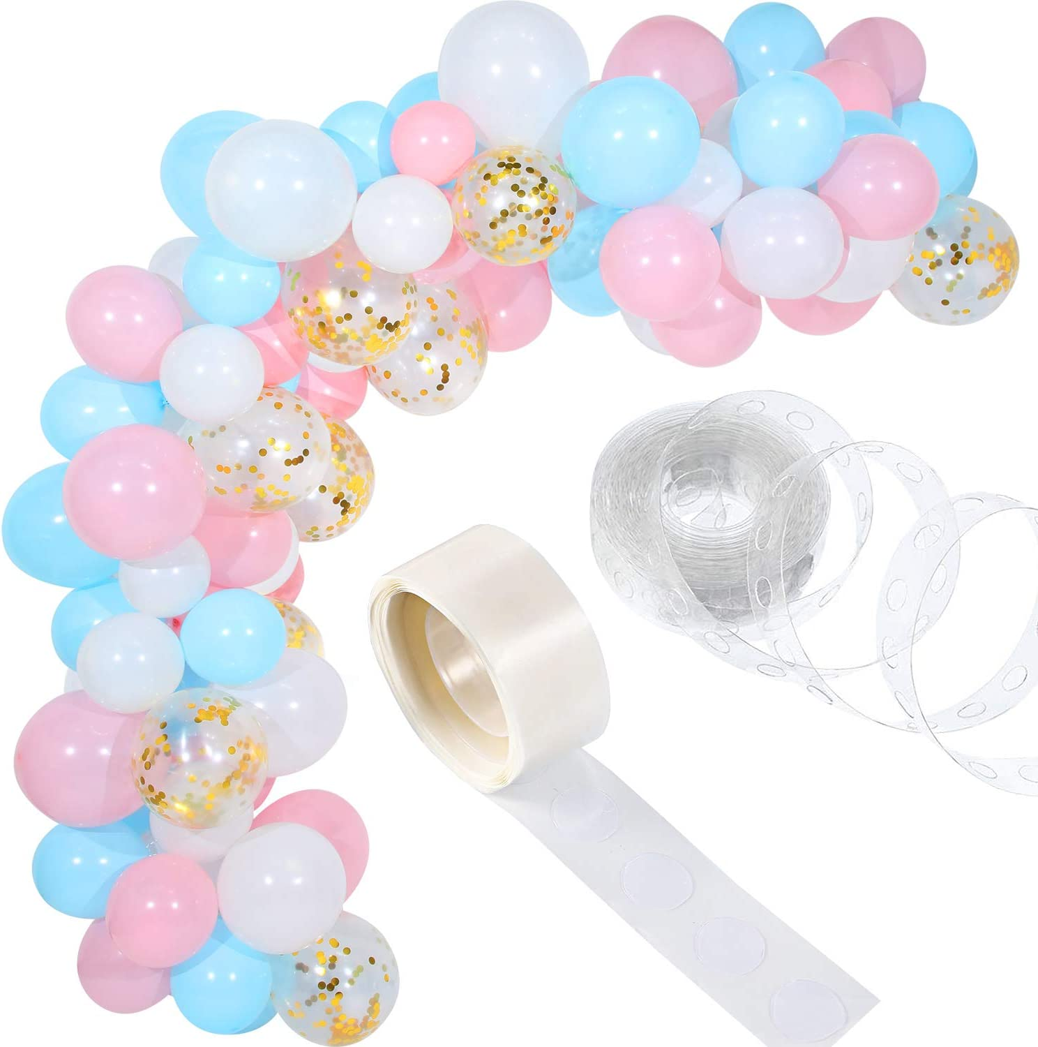 Tatuo 112 Pieces Baby Blue Pink Balloon Arch Kit Gender Reveal Balloon Garland for Baby Shower Wedding Birthday Party Decorations
