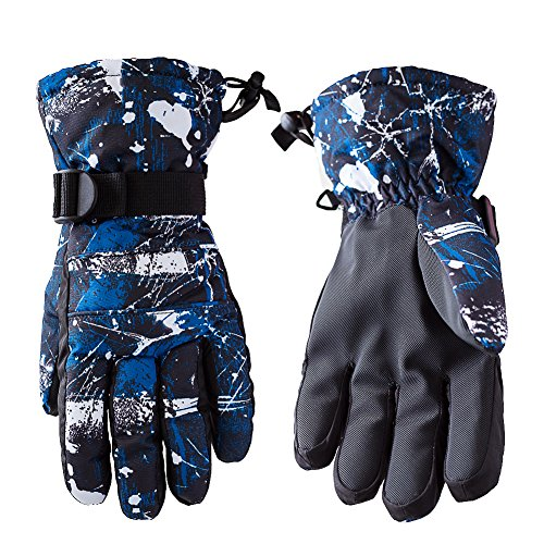OutMall Ski Gloves for Mens, Youth, Windproof Breathable Warmest Snow Gloves for Snowboard Skiing, Skating, Snowmobile, Sledding, Thanksgiving,Christmas,Valentine's Day,New Year Gift (L, Blue)