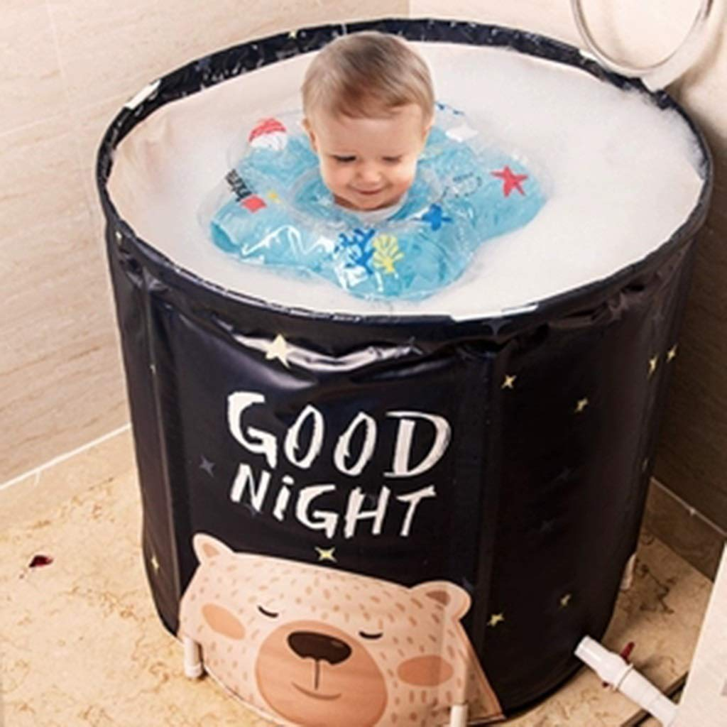 Folding bathtub Home Full Body Bath Barrel Adult Folding Bath Large Thickening Bath Barrel Bathroom Fumigation Barrel Cover Small Bubble Bath Gift (Color : Blue, Size : 7065cm) by Folding bathtub (Image #5)