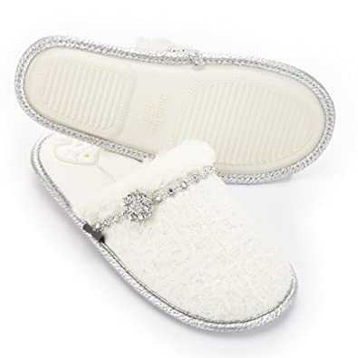 83466e56592 Pretty You Opal by London - Womens Mule Slippers With Diamante Chain and  Jewel (M