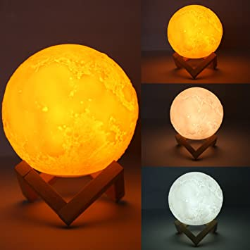 Moon Lamp Light, 3D Printed Touch Control LED Table Night Light, USB  Rechargeable Decorative