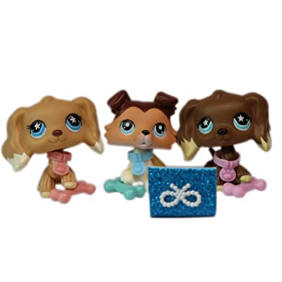 LPSOLD LPS Cocker Spaniel 960 748 Brown Yellow and Collie 58 Raised Paw Dog Puppy with Accessories Lot Kids Girls Xmas Gift Set: Toys & Games