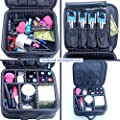 Samtour Professional Makeup Train Case Cosmetic Bag Organizer Portable with Portable Velcro for Makeup Brush Nail Beauty tools Black
