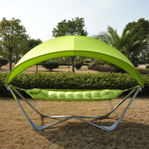 Outsunny Single Seat Outdoor Patio Hammock Swing w/ Canopy and Stand - Lime Green