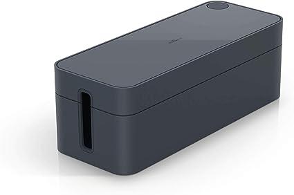 Durable 503037 Cavoline Box L - Caja para cables (para regleta de 5 enchufes, con pies de goma), 406 x 139 x 156 mm (B x H x T), color gris oscuro: Amazon.es: Oficina y papelería