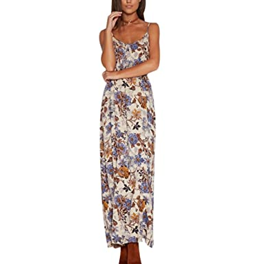 110ec9ac0e Women's Long Sundress Floral Print Boho Beach Dress Strappy Back Cut Out  Maxi Dress (Tag