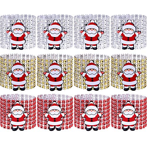 Santa Napkin Ring - Boao 12 Pieces Santa Claus Napkin Rings Christmas Table Rings for Wedding Banquet Christmas Themed Party Table Decoration, 3 Colors