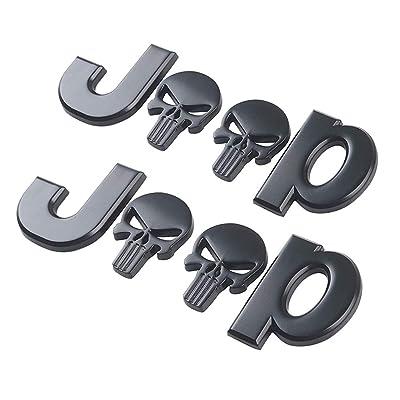 Yuzlder Jeep decals 3D Metal for punisher Skull Logo Car Side Fender Rear Trunk Emblem Badge Decals for Chrysler Jeep Grand Cherokee Wrangler Compass Cherokee Renegade Patriot Decoration (2 pack): Automotive