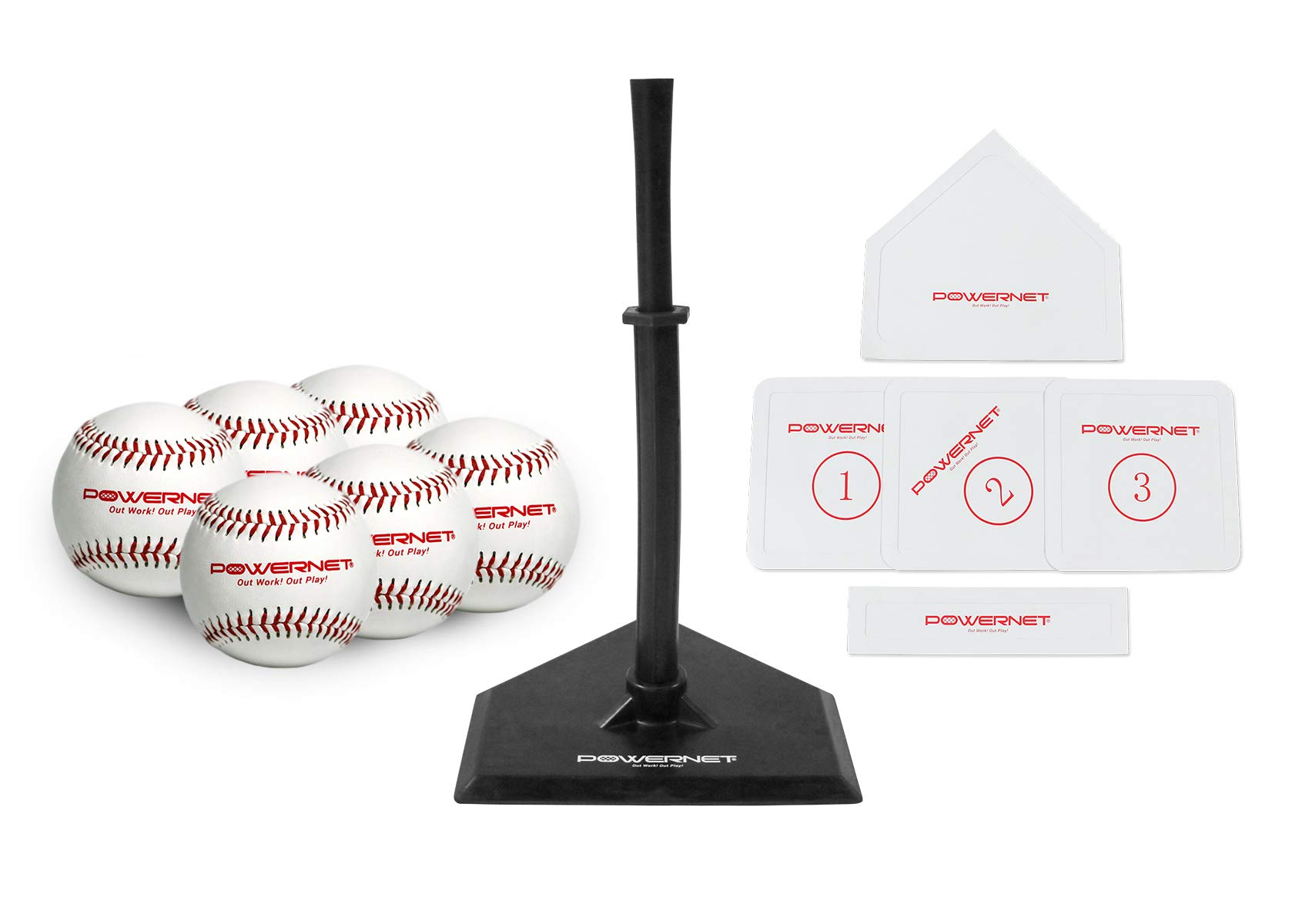 PowerNet Baseball T-Ball Coaching Bundle | 8 Piece Tee-Ball Set Includes 6 Soft Core Baseballs, Adjustable Tee, 5 Throw Down Bases to Coach by PowerNet