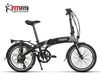 bicicleta eléctrica plegable fitifito Paris 20 pulgadas E-bike ,36v 250w, negro mate