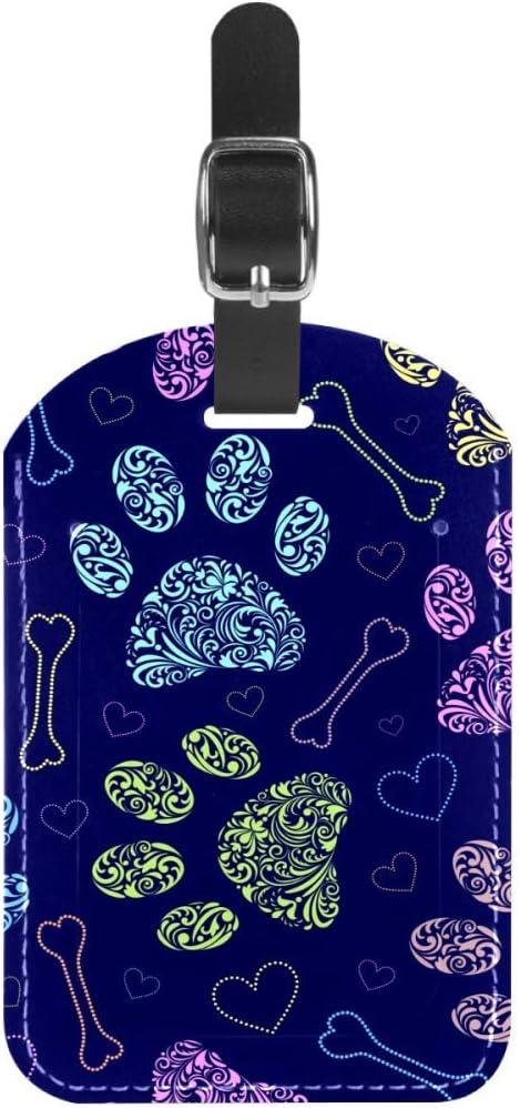 Etiquetas de equipaje con patrón floral de patas con cuero hueso, etiquetas para maleta de viaje, 1 paquete