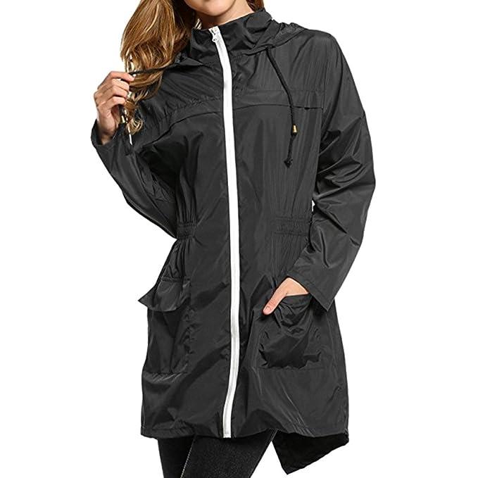 Womens Waterproof Jacket Ladies Hooded Lightweight Outdoor Raincoat Pac a Mac